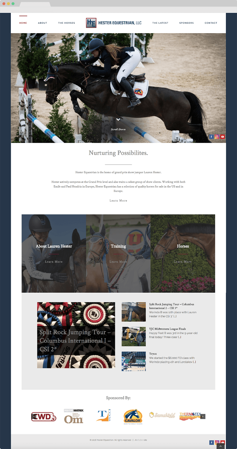lauren hester hester equestrian website design